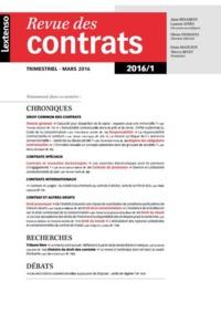 RDC - REVUE DES CONTRATS N 1-2016