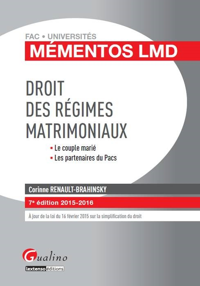 DROIT DES REGIMES MATRIMONIAUX LE COUPLE MARIE, LES PARTENAIRES DU PACS