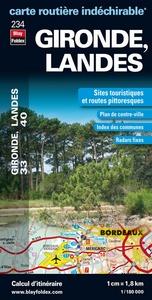 GIRONDE (33), LANDES (40) - CARTE DEPARTEMENTALE, ROUITERE ET TOURISTIQUE