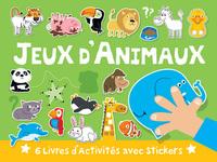 VALISETTE JEUX D'ANIMAUX - 6 LIVRES D'ACTIVITES AVEC STICKERS