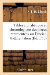 TABLES ALPHABETIQUE ET CHRONOLOGIQUE DES PIECES REPRESENTEES SUR L'ANCIEN THEATRE ITALIEN - DEPUIS S