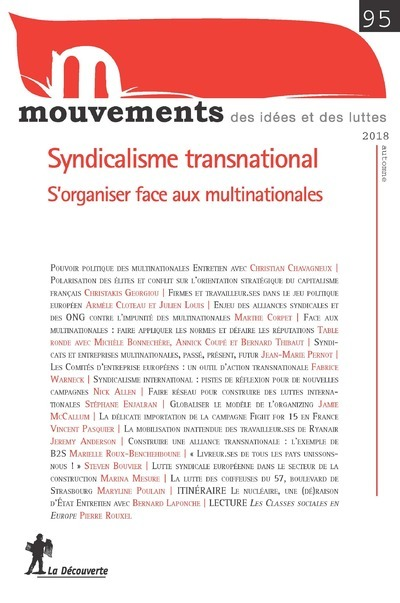 REVUE MOUVEMENTS NUMERO 95 SYNDICALISME TRANSNATIONAL - S'ORGANISER FACE AUX MULTINATIONALES