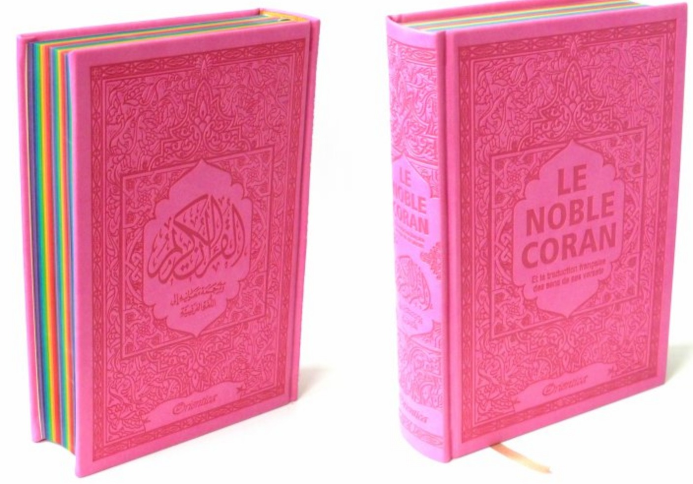 NOBLE CORAN AVEC PAGES ARC-EN-CIEL (RAINBOW) - BILINGUE (FR/AR) - COUVERTURE DAIM ROSE