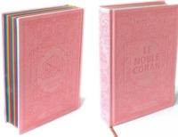 NOBLE CORAN AVEC PAGES ARC-EN-CIEL (RAINBOW) - BILINGUE (FR/AR) - COUVERTURE DAIM ROSE CLAIR