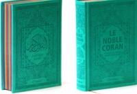 NOBLE CORAN AVEC PAGES ARC-EN-CIEL (RAINBOW) - BILINGUE (FR/AR) - COUVERTURE DAIM VERT BLEU