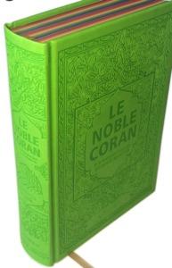NOBLE CORAN AVEC PAGES ARC-EN-CIEL (RAINBOW) - BILINGUE (FR/AR) - COUVERTURE DAIM VERT CLAIR