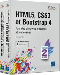 HTML5, CSS3 ET BOOTSTRAP 4 - COFFRET DE DEUX LIVRES : POUR DES SITES WEB MODERNES ET RESPONSIVES
