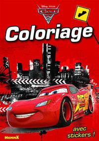 CARS 2 COLORIAGE AVEC STICKERS (VILLE - FOND ROUGE)