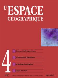 L'ESPACE GEOGRAPHIQUE N 4 - 2007