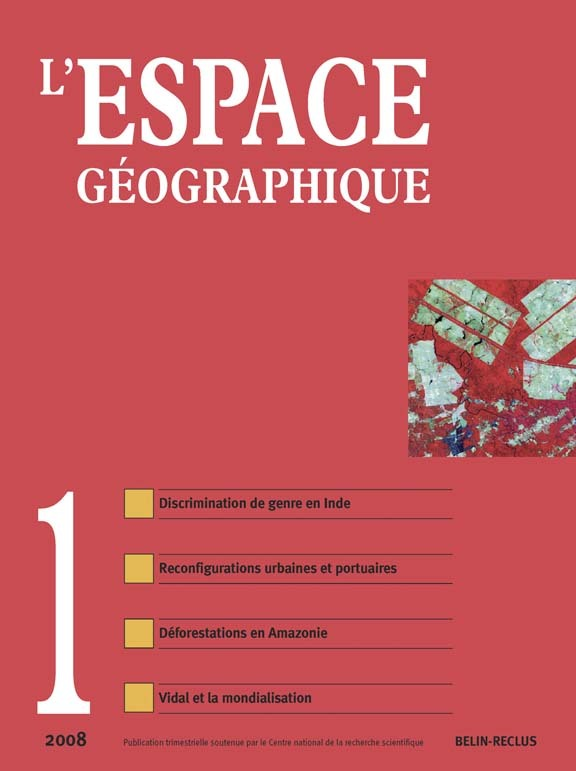 L'ESPACE GEOGRAPHIQUE N 1 - MARS-08