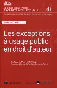 LES EXCEPTIONS A USAGE PUBLIC EN DROIT D'AUTEUR N 41