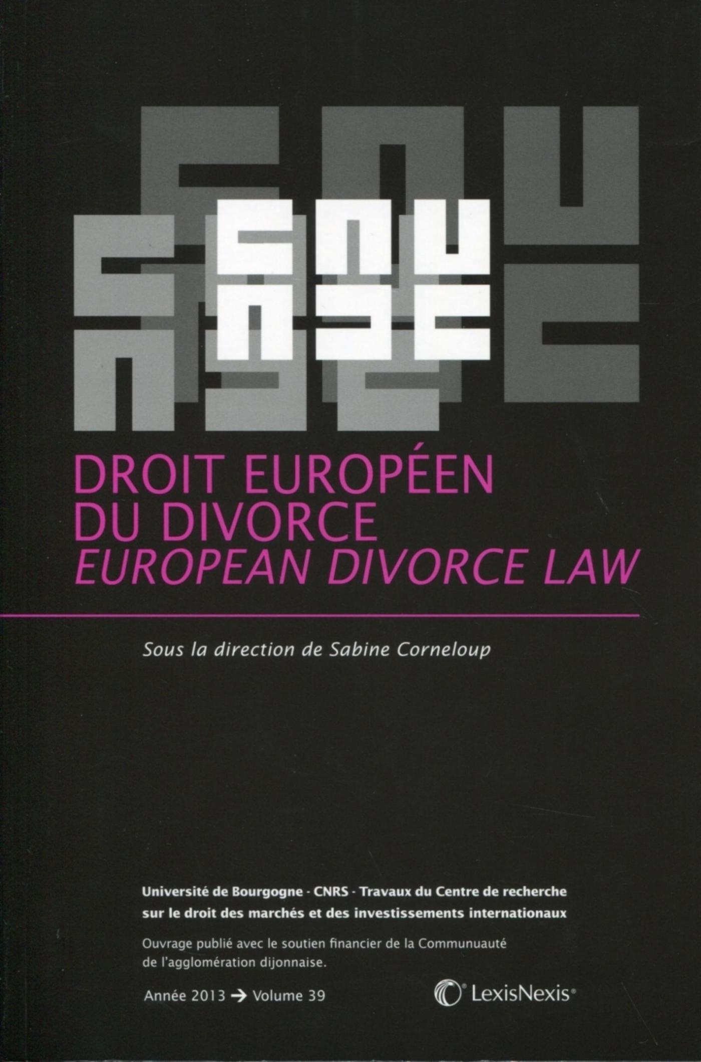 DROIT EUROPEEN DU DIVORCE - EUROPEAN DIVORCE LAW.