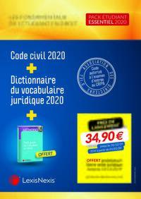 PACK ETUDIANT ESSENTIEL 2020 - COMPRENANT LE CODE CIVIL 2020 LE DICTIONNAIRE DU VOCABULAIRE JURIDIQU