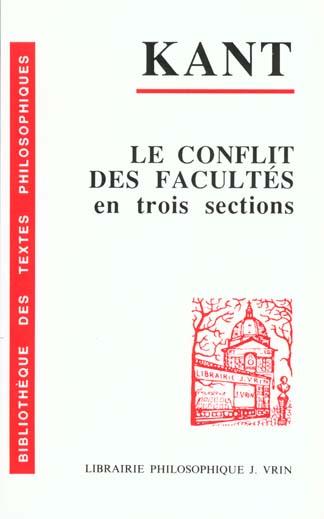 LE CONFLIT DES FACULTES, EN TROIS SECTIONS (1798)