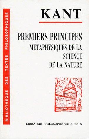 PREMIERS PRINCIPES METAPHYSIQUES DE LA SCIENCE DE LA NATURE