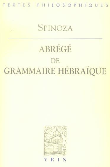 ABREGE DE GRAMMAIRE HEBRAIQUE