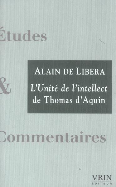 L'UNITE DE L'INTELLECT DE THOMAS D'AQUIN
