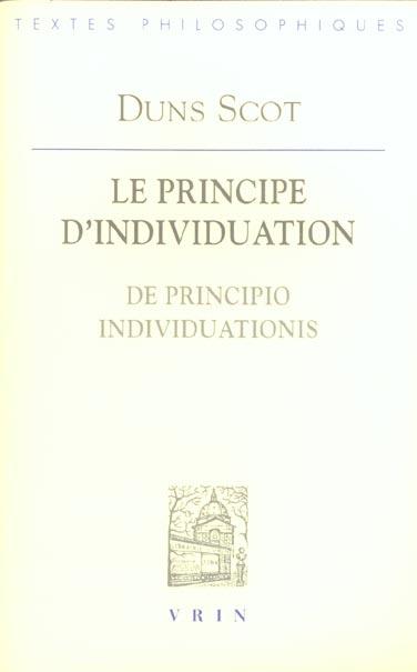 LE PRINCIPE D'INDIVIDUATION EDITION BILINGUE