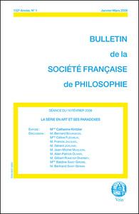 LA SERIE EN ART ET SES PARADOXES (BULLETIN SFP 2008/1)