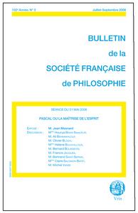 PASCAL OU LA MAITRISE DE L ESPRIT (BULLETIN SFP 2008/3)