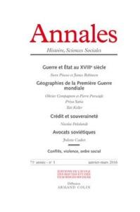 ANNALES HISTOIRE SCIENCES SOCIALES 2016/1 - GUERRE ET ETAT AU XVIIIE SIECLE / GEOGRAPHIES DE LA PREM