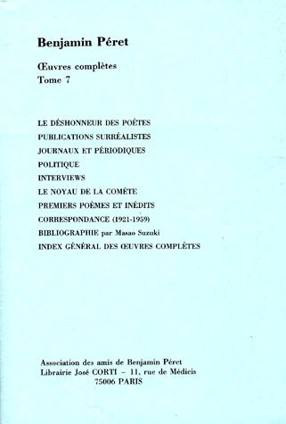 OEUVRES COMPLETES - PUBLICATIONS SURREALISTES