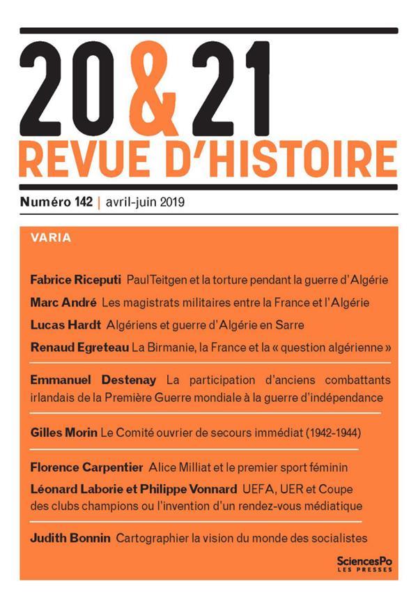 20 & 21. REVUE D'HISTOIRE 142, AVRIL-JUIN 2019 - VARIA