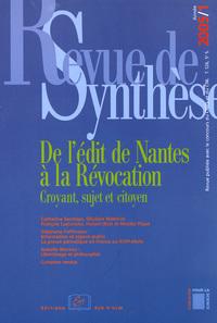REVUE DE SYNTHESE 2005 / 1-N 126 - DE L'EDIT DE NANTES A LA REVOCATION