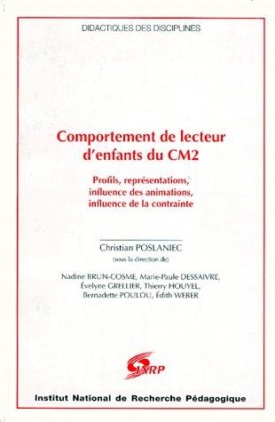 COMPORTEMENT DE LECTEUR D'ENFANTS DU CM2. PROFILS, INFLUENCE DES ANIM ATIONS, INFLUENCE DE LA CONTRA