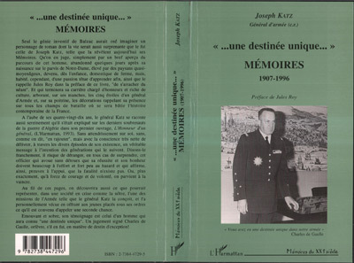 """  UNE DESTINEE UNIQUE "" MEMOIRES 1907-1996"