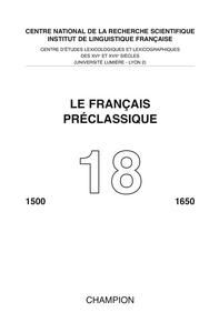 LE FRANCAIS PRECLASSIQUE N.18 2016