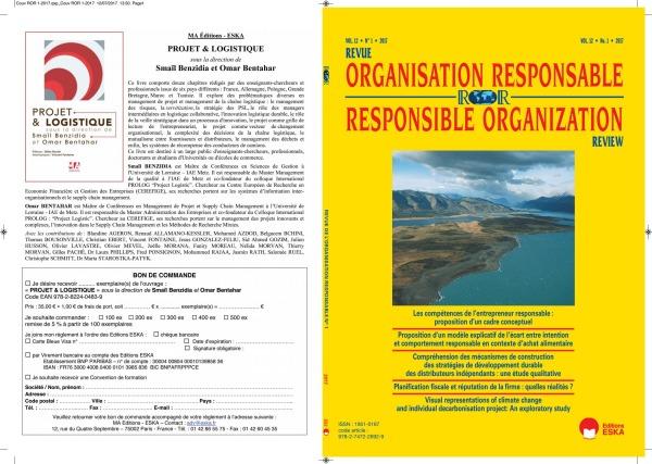 REVUE DE L'ORGANISATION RESPONSABLE VOL 12 N 1-2017 - LES COMPETENCES DE L'ENTREPRENEUR RESPONSABLE: