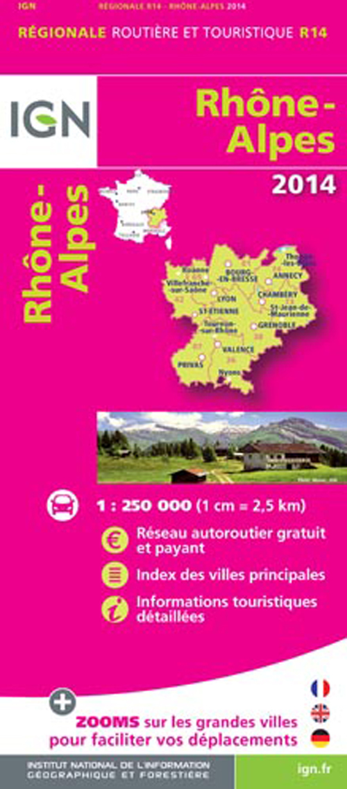 AED RHONE/ALPES 2014  1/250.000