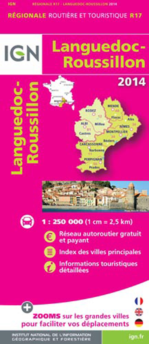 AED LANGUEDOC/ROUSSILLON 2014  1/250.000