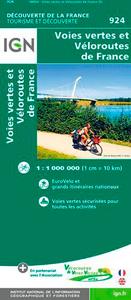 1M924 VOIES VERTES ET VELOROUTES DE FRANCE 1/1M