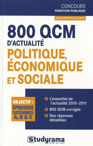 800 QCM D'ACTUALITE POLITIQUE, ECONOMIQUE ET SOCIALE