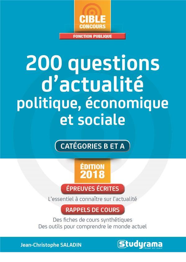 200 QUESTIONS D'ACTUALITE POLITIQUE ECONOMIQUE ET SOCIALE ED 2018