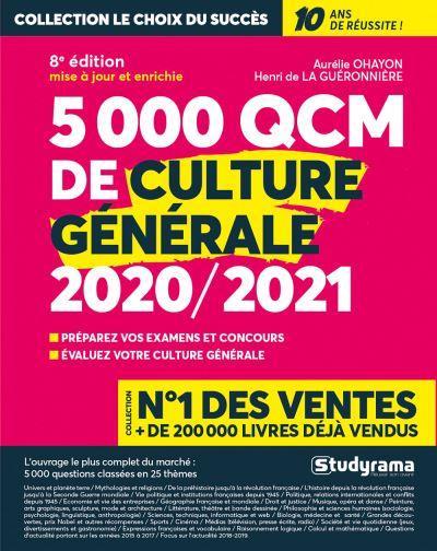 5000 QCM DE CULTURE GENERALE 2020-2021
