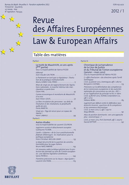 R. DES AFFAIRES EUROPEENNES 2012/1