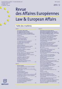R. DES AFFAIRES EUROPEENNES 2013/2