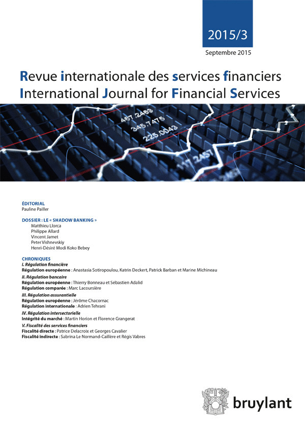 REVUE INTERNATIONALE DES SERVICES FINANCIERS 2015/3