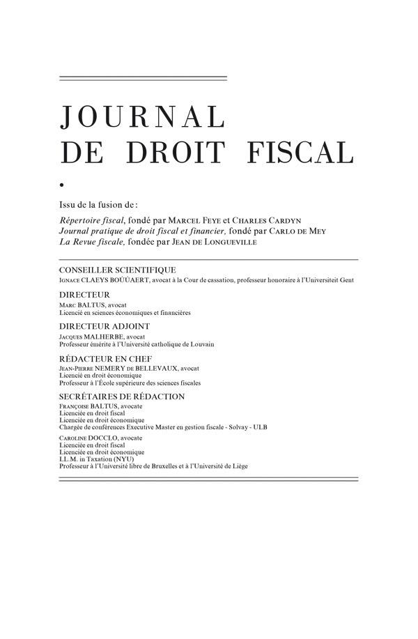JOURNAL DE DROIT FISCAL 2015/1-2