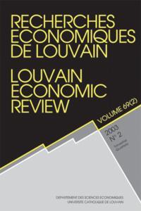 RECHERCHES ECONOMIQUES DE LOUVAIN 2003/2 VOLUME 69