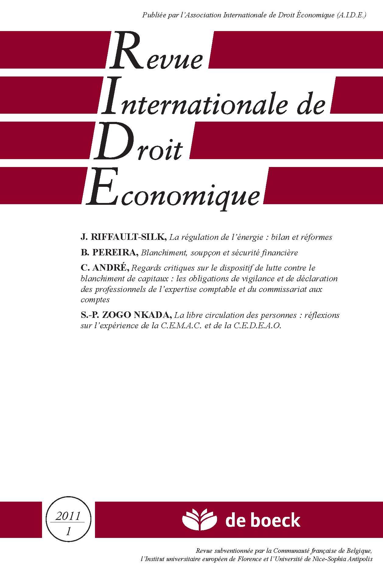 REVUE INTERNATIONALE DE DROIT ECONOMIQUE 2011/1