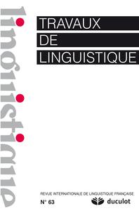 TRAVAUX DE LINGUISTIQUE 2011/2 N.63