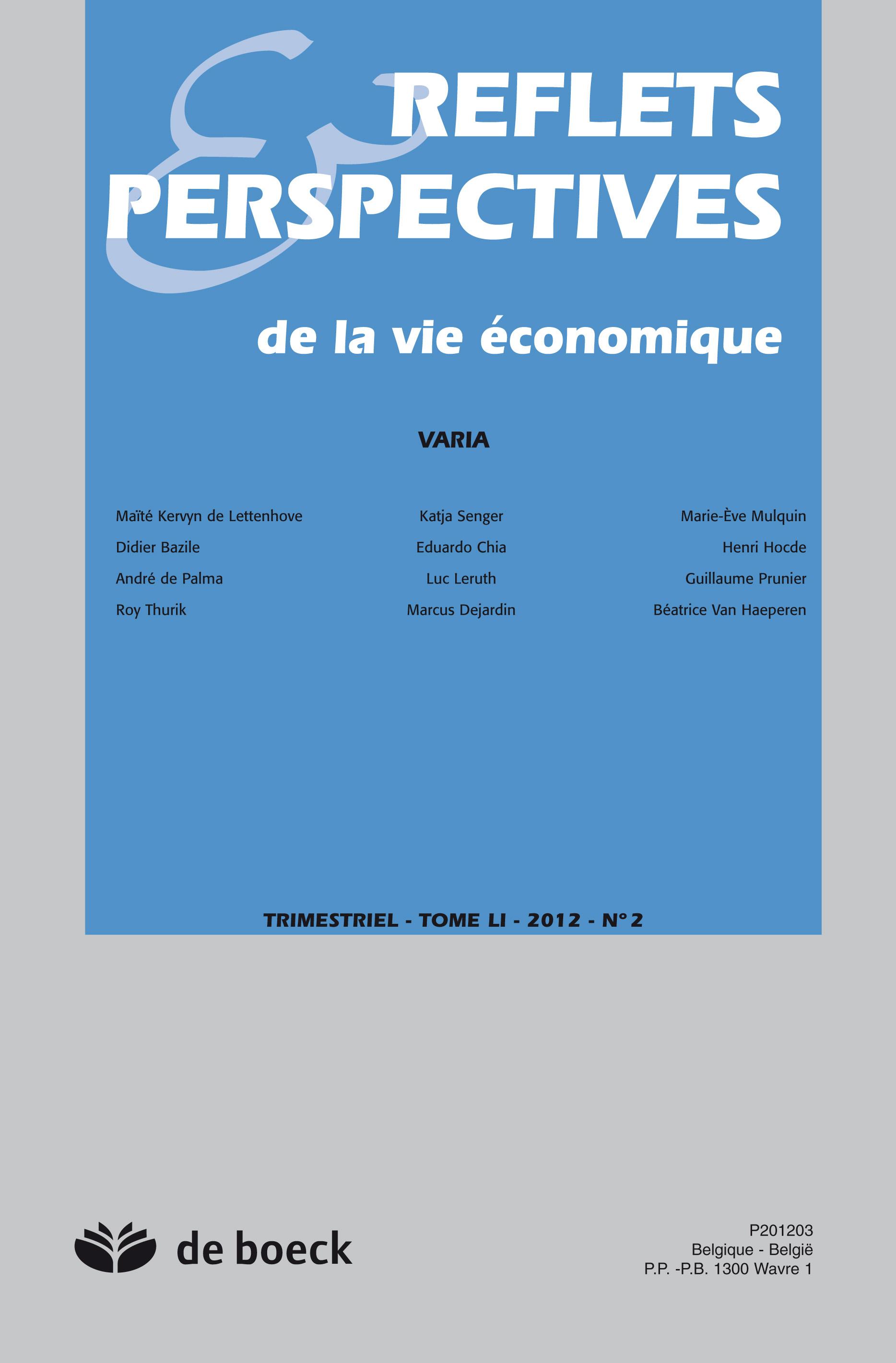 REFLETS ET PESPECTIVES DE LA VIE ECONOMIQUE 2012/2