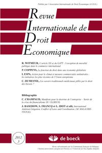 REVUE INTERNATIONALE DE DROIT ECONOMIQUE 2012/3