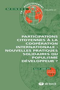 MONDES EN DEVELOPPEMENT 2013/1 N.161 PARTICIPATIONS CITOYENNES COOPE INTERNATI