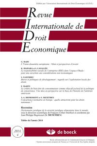 REVUE INTERNATIONALE DE DROIT ECONOMIQUE 2014/4