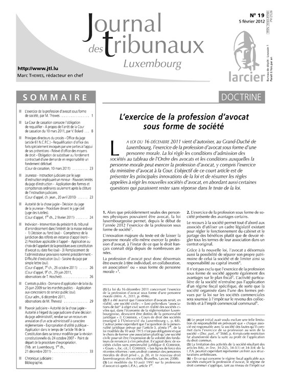 JOURNAL DES TRIBUNAUX LUXEMBOURG 2012/1